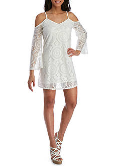 love, Fire Lace Cold Shoulder Bell Sleeved Dress