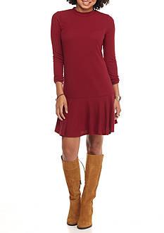 love, Fire Flounce Hem Rib Knit Dress