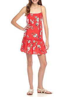 love, Fire Floral Scoop Neck Mini Dress