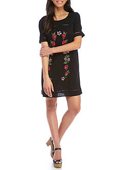 love, Fire Embroidered Shift Dress