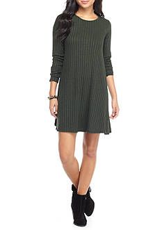 love, Fire Long Sleeve Rib Swing Dress