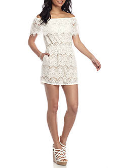 love, Fire Lace Off The Shoulder Romper