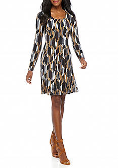 Chris McLaughlin Printed Fit and Flare Dress