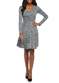 Chris McLaughlin Variegated Fit and Flare Dress