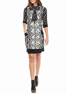 Chris McLaughlin Printed Textured Knit Shift Dress