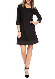 Chris McLaughlin Rib Knit Trapeze Dress