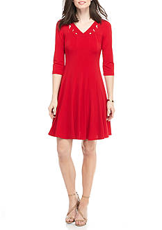 Chris McLaughlin Lattice Neckline Trapeze Dress