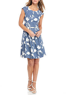 Chris McLaughlin Floral Embroidered A-Line Belted Dress