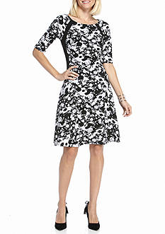 Rabbit Rabbit Rabbit Floral Printed Fit and Flare Dress