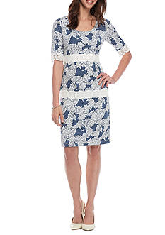 Chris McLaughlin Printed Lace Trim Sheath Dress