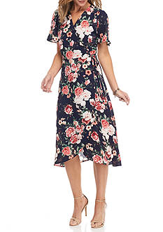 Chris McLaughlin Floral Printed Wrap Dress