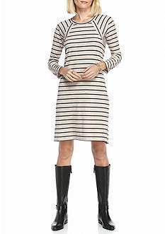 Chris McLaughlin Rib Knit Striped Swing Dress
