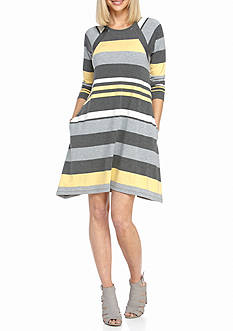 Chris McLaughlin Striped Knit Swing Dress