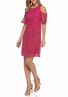 Chris McLaughlin Cold Shoulder Lace Shift Dress