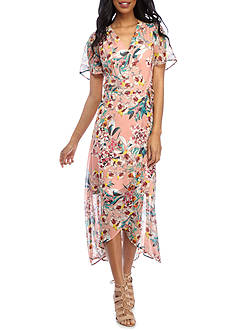 Chris McLaughlin Floral Printed Hi-Lo Hem Wrap Dress