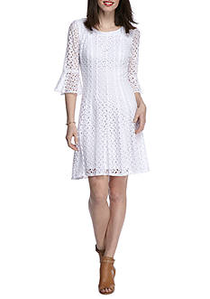 Chris McLaughlin Crochet Bell Sleeve Fit and Flare Dress