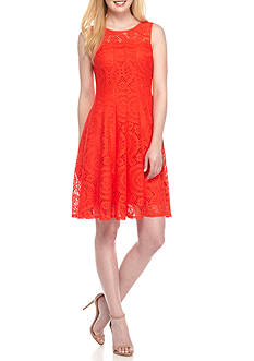 Chris McLaughlin Lace Fit-and-Flare Dress