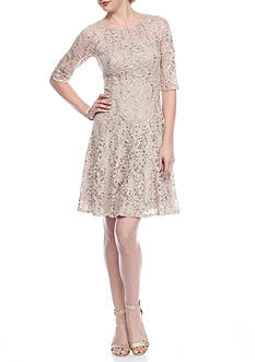 Chris McLaughlin Lace and Sequin Fit and Flare Dress