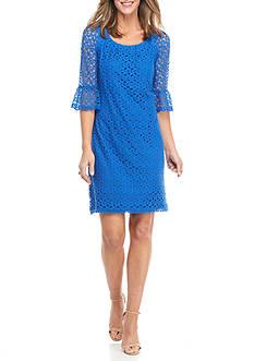 Chris McLaughlin Bell Sleeve Crochet Shift Dress