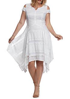 Chris McLaughlin Plus Size Handkerchief Hem Lace Dress
