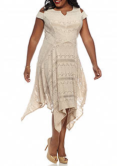 Chris McLaughlin Plus Size Lace Cold Shoulder Hankie Hem Dress