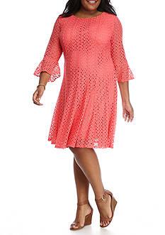 Chris McLaughlin Plus Size Crochet Bell Sleeve Dress
