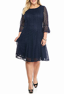 Chris McLaughlin Plus Size Bell-Sleeve Lace Fit and Flare Dress