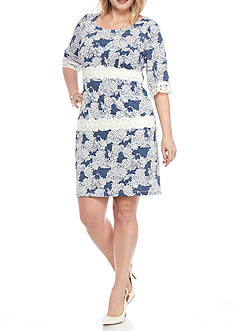 Chris McLaughlin Plus Size Faux Denim Lace Inset Dress