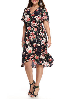 Chris McLaughlin Plus Size Floral Printed Wrap Dress