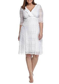 Rabbit Rabbit Rabbit Plus Size Lace Empire Waist Ruffle Neck Dress