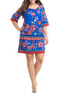 Chris McLaughlin Plus Size Border Printed Shift Dress
