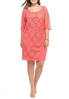 Chris McLaughlin Plus Size Floral Lace Shift Dress