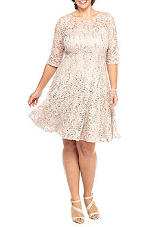 Chris McLaughlin Plus Size Lace and Sequin Fit and Flare Dress