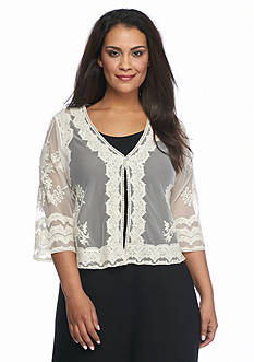 Chris McLaughlin Plus Size Embroidered Mesh Shrug