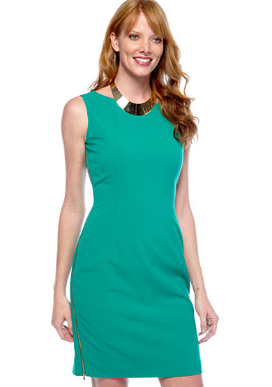 Calvin Klein Sleeveless Sheath Dress with Side Exposed Zippers