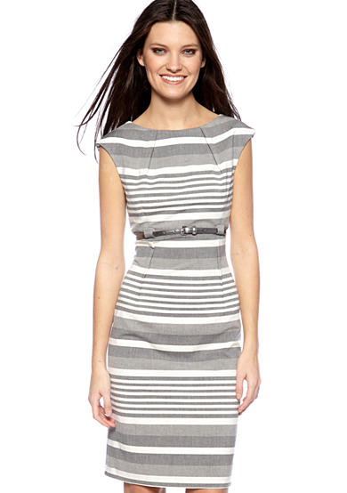 Sleeveless Stripe Belted Sheath Dress