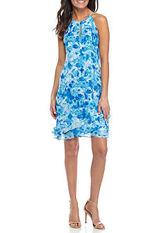 Calvin Klein Printed Tiered Halter Dress