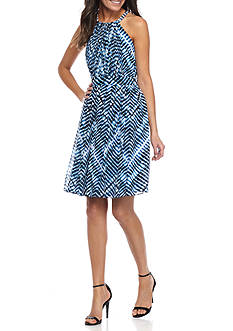 Calvin Klein Printed Fit and Flare Halter Dress