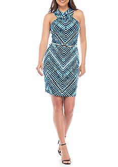Calvin Klein High V-Neck Printed Halter Dress