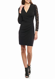Calvin Klein Lace Sleeve Inset Wrap Dress