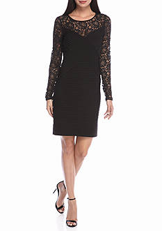 Calvin Klein Illusion Lace Neckline Sheath Dress