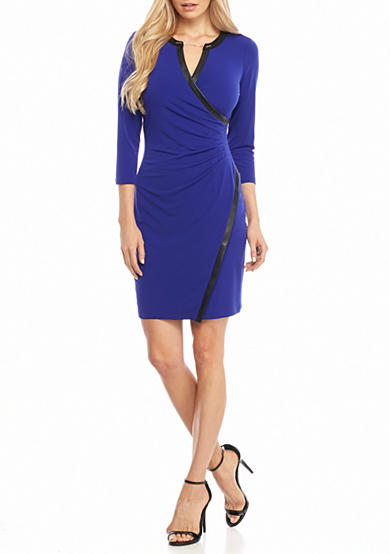Calvin Klein Jersey Wrap Dress with Faux Leather Trim