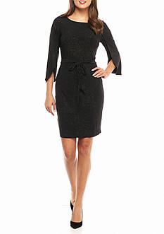 Calvin Klein Tulip-Sleeve Glitter Dress