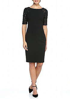 Calvin Klein Embroidered Sleeve with Sequin Sheath Dress