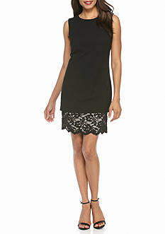 Calvin Klein Popover Shift Dress with Lace Hem