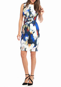 Calvin Klein Blurred Floral Sheath Dress