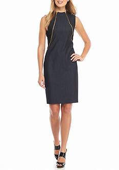 Calvin Klein Double Zip Front Hi-Neck Shift Dress