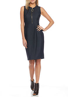 Calvin Klein Zip Front Denim Sheath Dress