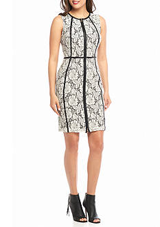 Calvin Klein Zip Front Lace Sheath Dress with Faux Leather Trim