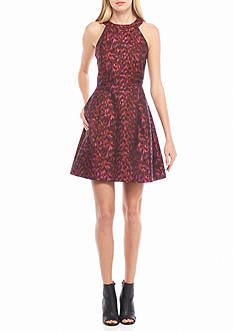 Calvin Klein Printed Halter Fit and Flare Dress